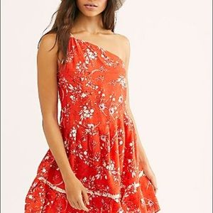 Free People All Mine Mini Dress Linen S Orange New